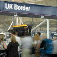 Travellers are checked by the UK Border Agency