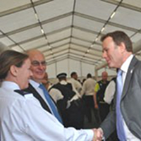 Nick Herbert meets officers at Battersea police briefing centre