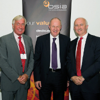 BSIA President Sir Keith Povey and BSIA Chief Executive James Kelly with Damian Green MP, Minister of State for Policing and Criminal Justice