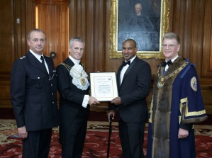Chief Superintendent Martin Fry (BTP), Sheriff Neil Redcliffe JP, PC Wayne Marques, The Master WCoSP, Air Commodore Stephen Anderton